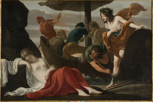 """Photo Huile sur toile """"Bacchus découvrant Ariane à Naxos"""" par les frères Le Nain pour illustrer une visite guidée du musée des Beaux-Arts d'Orléans, Val de Loire, France."""