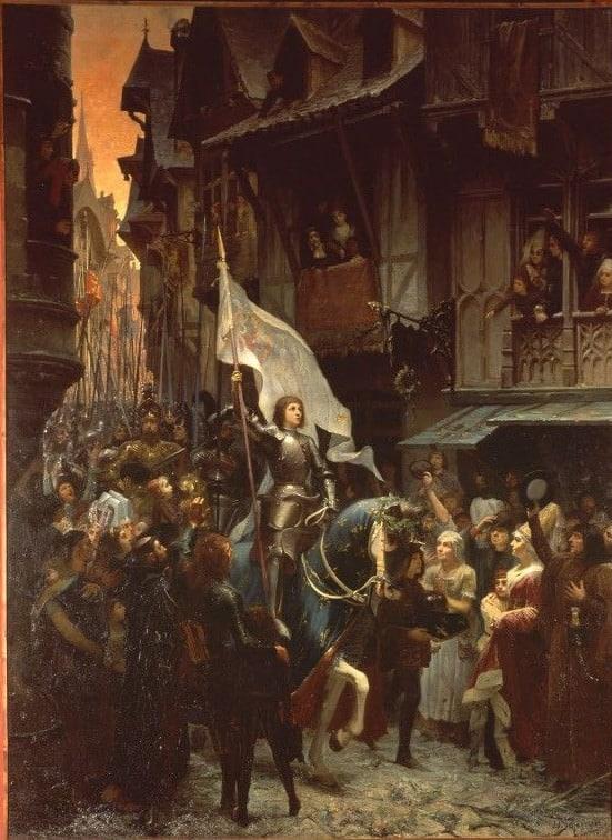 Photo d'une peinture Jean-Jacques Scherrer représentant l'entrée de Jeanne d'Arc à Orléans par la rue de Bourgogne pour illustrer une visite guidée d'Orléans