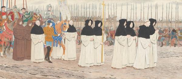 Photo d'une peinture de Jeanne d'Arc quittant Blois pour Orléans par le peintre Louis-Maurice Boutet de Monvel pour illustrer un visite guidée d'Orléans