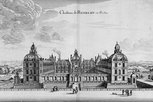 Photo d'une gravure représentant le château de Richelieu disparu après la Révolution française pour illustrer une visiteguidée de la salle des grands format dans le musée des Beaux-Arts d'Orléans dans le Val de Loire, France.