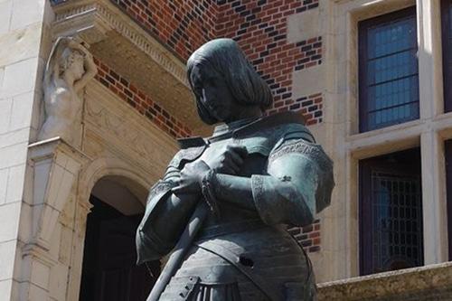 Photo of a Romantic Joan of Arc sculpture by princess Marie d'Orléans. Orléans, Loire Valley, France.