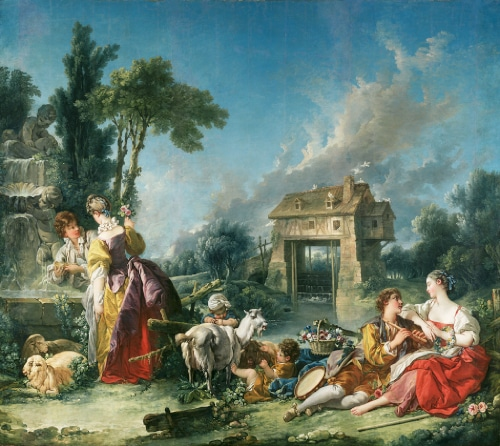 Photo of Boucher painting representing a pastoral landscapes with watermill to illustrate a Le Louvre 18th century French Painting private tour, Paris, France.