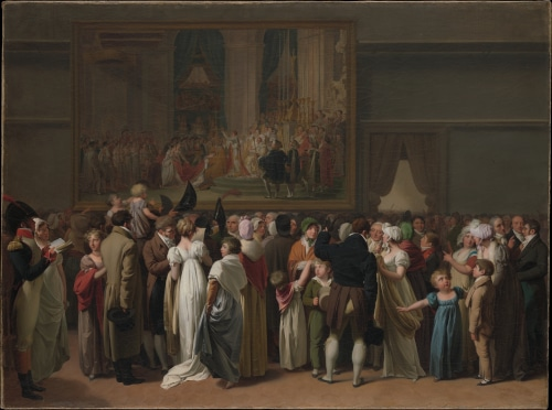"Photo of 1810 Painting by Boilly representing a public view of Jacques-Louis David master piece ""The Coronation of Napoleon"" to illustrate the Louvre Private Tour in paris, France;"