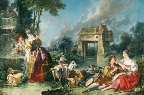 Photo a painting by François Foucher Poussin to illustrate  the 18th century Guided Tour ; Paris, France.