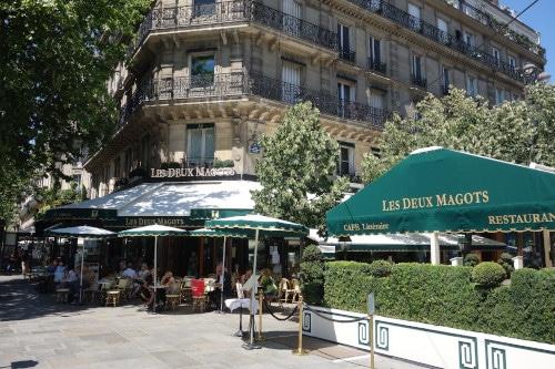 Terrasse of the café Les Deux Magots to illustrate the Saint-Germain-des-Prés Guided Tour in Paris, France.