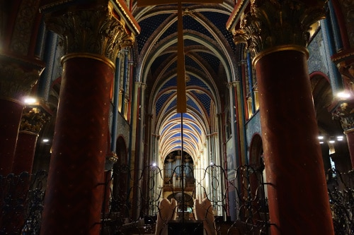 Saint-Germain-des-Prés abbatial church newly restored choir and nave to illustrate the Saint-Germain-des-Prés Church and Ancient Abbey Guided Tour in Paris, France.