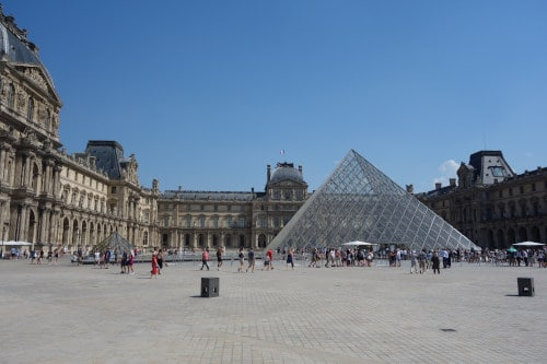 Photo of Cour Napoléon with the famous Pyramid in its center to illustrate how big is the Louvre.