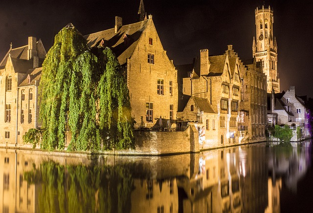 Night view of the old city of Bruges and canal to illustrate the Louvre Flemish and Dutch painting private tour, Paris, France.