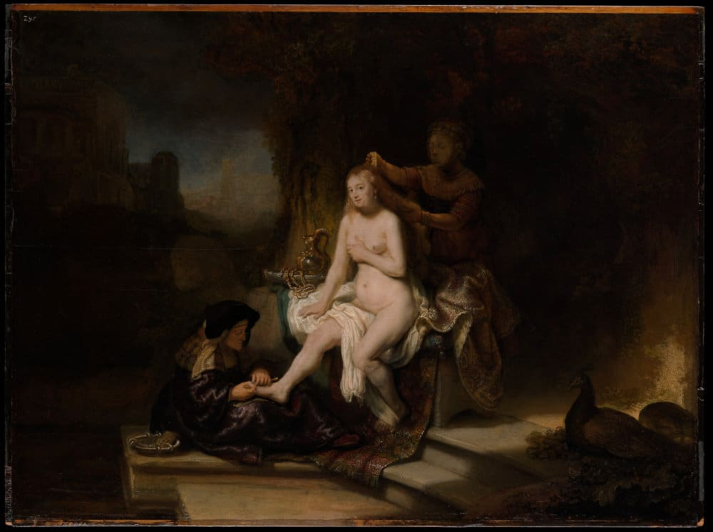 "Photo of the painting ""Toilet of Bathsheba"" by Rembrand to illustrate the Flemish and Dutch Louvre tour."